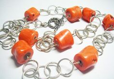 Gorgeous Orange Coral Silver Chain Necklace by leilahaikonen, $194.95