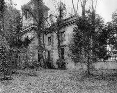 UK, Wales, Llandyfaelog, Carmarthenshire, Gellideg - an Italianate mansion built in 1852 by William Wesley Jenkins and then the lead was removed by the family and sold in the 1950's and with the proceeds a smaller house was designed and built close by.