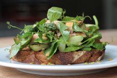 Hot smoked salmon, grilled zucchini, asparagus & lentils on New York Rye   www.brasseriebread.com.au/blog