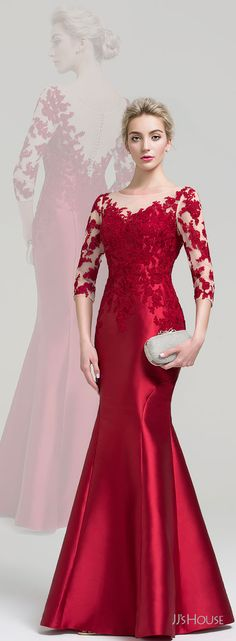 This jaw-dropping evening dress will make you feel like a queen. This gown is made of sleek satin that's embellished with beautiful lace appliques, for a pretty and elegant look. Gaun Dress, Dress Brukat, Dress Pesta, Popular Dresses, Trendy Dresses, Elegant Dresses, Nice Dresses, Fashion Dresses, Simple Cocktail Dress