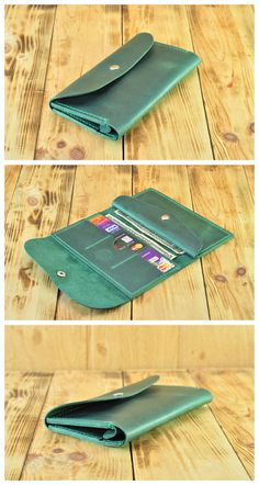 Coin Wallet for Women, Green leather wallet, Coin pocket wallet, Womens leather wallets with coin purse, Trifold wallet with coin pocket