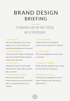 8 onderdelen voor een killer briefing voor je merkdesigner | Brand design briefing | OCHER