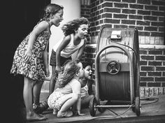 Picture of girls standing in front of a fan in Roswell, Georgia