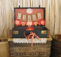 Vintage Suitcase Wedding Card Holder Shabby Chic Wedding Rustic Country Wedding Coral and Navy on Etsy, $199.00