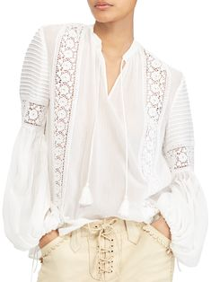 Polo Ralph Lauren Crinkled Silk Blouse In White White Silk Blouse, Lauren White, Lace Inset, Blouse Patterns, Mode Inspiration, Cotton Silk, Lace Tops, White Lace, Blouses For Women
