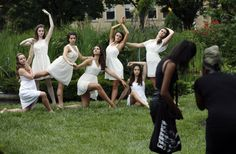 Dancers from the Dublin Dance Center strike some dramatic poses for photographer Michelle Uzomba, 18, right, and her assistant, Ayshea Grant, 18, in the Topiary Garden in the Old Deaf School Park. The young women, members of the junior intensive ballet troupe, were having group and individual photos taken on Wednesday. From left are Emma Roscoe, 17, Elizabeth McGovern, 15, Natalie Gillespie, 16, Madison Ackerman, 17, Jaclynne Routzong, 19, Sydney Hudock, 16, and Sydney Brannan, 16.