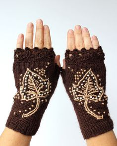 READY TO SHIP, Knitted Fingerless Gloves, Leaf, Fall, Brown, Clothing And Accessories, Gloves & Mittens,Gift Ideas, For Her,Accessories
