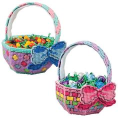 Free plastic canvas pattern, Tiny Easter Baskets, 1/3 ...