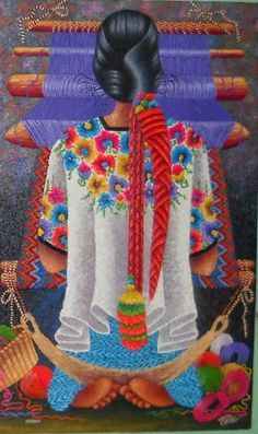 Weaver from Coban - Guatemala. Lorenzo y Pedro Arnoldo Cruz Sunu. Mexican Artwork, Mexican Folk Art, Guatemalan Art, Arte Latina, Peruvian Art, Mexican Textiles, Chicano Art, Indigenous Art, Naive Art