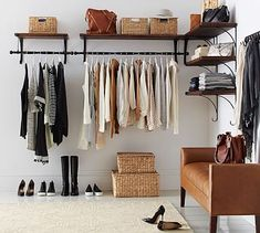Trendy Open Closet Ideas For Small Spaces Shelves Shelves In Bedroom, Closet Shelves, Closet Storage, No Closet Bedroom, Master Bedroom, Closet Organization, Clothes Rack Bedroom, Master Suite, Bedroom Bed