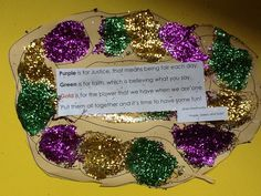 "Louisiana Mardi Gras king cake craft. ABC patterns with purple, green, & gold. Poem is excerpt from song by Shad Weathersby & Mike Artell's CD, ""Calling All Children to the Mardi Gras"""