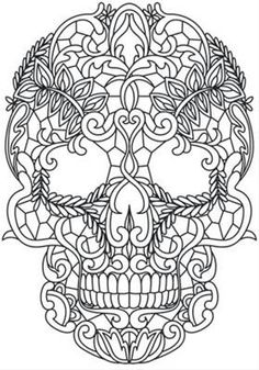 Ornate skull. Colouring in. Day of the Dead