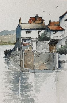 Watercolor Negative Painting, Watercolor Landscape Paintings, Pen And Watercolor, Landscape Drawings, Watercolor Illustration, Painting & Drawing, Landscapes, Architecture Drawing Sketchbooks, Watercolor Architecture