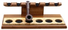 Pipe Accessories Accessories: Neal Yarm 6 Pipe Stand Mahogany with Maple Burl Strip