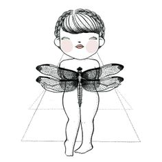 "Dragonfly, from ""Bichos"" serie. La Princesita 2013. Illustration on sale at the online store. http://laprincesitatatuada.bigcartel.com/"