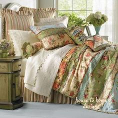 GARDEN DREAM Twin Single QUILT : COUNTRY COTTAGE RAG PATCH FLORAL COMFORTER #CF #Cottage #Quiltset