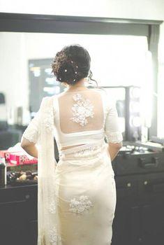 Bridal saree white blouse designs Ideas for 2019 White Saree Blouse, Indian Blouse, Saree Dress, Indian Sarees, Lace Saree, Sheer Blouse, Saree Blouse Neck Designs, Saree Blouse Patterns, Designer Blouse Patterns