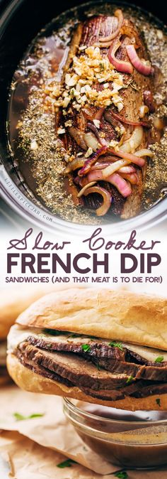 Slow Cooker French Dip Sandwiches - Tender beef that's slow cooked in au jus. These sandwiches are to die for!
