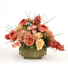 Great Price On Dusty Rose And Antique Beige Silk Garden Mix In A Scalloped  Corner Planter