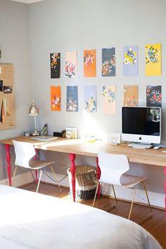 Dual workspace desk - Ikea countertop with Nipen legs