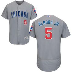 Cubs #5 Albert Almora Jr. Grey Flexbase Authentic Collection Road Stitched MLB Jersey