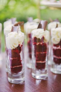 individual red velvet cake shooters for a party