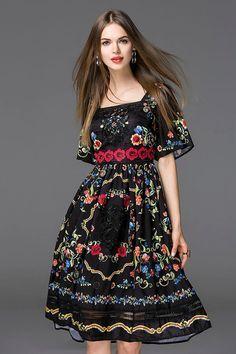 Vestido de verano 2016 de bohemia Runway marca moda corto llamarada de la manga nueva impresión Floral Vintage Hollow vestido de cuello cuadrado en Vestidos de Moda y Complementos Mujer en AliExpress.com   Alibaba Group