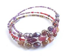 Memory Wire Bracelet with Colorful Glass Beads Silver Beads