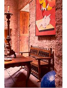 The bench.  And the walls, why not? -  Mexican Architecture and Interiors, Hacienda Architecture, Spanish Colonial Antiques