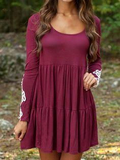 Burgundy Long Sleeve Crochet Lace Detail Babydoll Dress