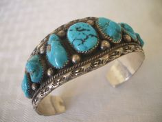 Classic Vintage NAVAJO Sterling Silver & TURQUOISE Single Row Cuff BRACELET, 53.6 grams  #TurquoiseKachina, $427.29