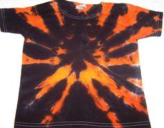 orange and black spider pattern halloween tie dye