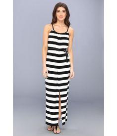 Feminine, boho style.. Sleeveless maxi dress has an easy fit.. Fixed shoulder straps.. Scoop necklin...