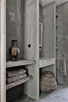 20 ideas bath room design grey modern shelves for 2019 Modern Bathroom Faucets, Modern Bathroom Lighting, Concrete Bathroom, Chic Bathrooms, Amazing Bathrooms, Concrete Kitchen, Concrete Wood, Villa Design, Design Hotel