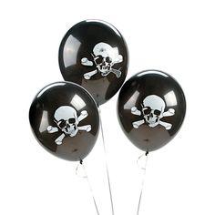 "12 SKULL BALLOONS 11"" Latex Halloween Child Birthday Pirate Party Decoration Fun #FunExpress #BirthdayChild"