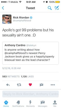 """I didn't even consider the fact that he was bisexual. I guess I was just like """"Oh, he's a god so those labels don't apply to him"""" xD"""