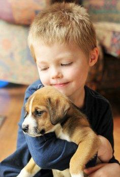 so sweet, a boy and his puppy
