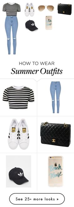 """Summer Outfit"" by cassnbro on Polyvore featuring Topshop, Glamorous, adidas Originals, Ray-Ban, Chanel and adidas"