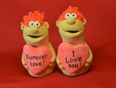 Valentine's day. Decorative figurine with a humorous caption. Hademade. Made from salt dough. FREE SHIPPING!