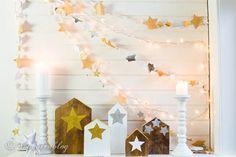 Stars Garland Christmas Mantel countryliving