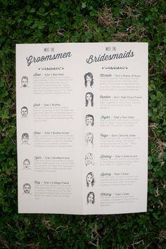 "Illustrated ""meet the bridal party"" poster. Sarah Tate Designs. Photography: Brandon Gresham- Simple Color - simple-color.com  Read More: http://www.stylemepretty.com/2014/05/21/modern-stone-bridge-farm-wedding/"