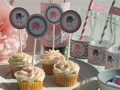 Elephant Baby Shower Decorations Pink Grey Baby Girl Printable DIY Party Package. $20.00, via Etsy.