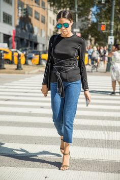 Every woman should have a fancy top and jeans to rely on.