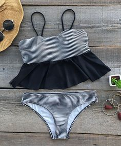 Hot summer bikini set, $25.99! Free shipping~ Add a touch of beach charm to your summer wardrobe with this Falbala Bikini Set. You'll like its stripe print and lightweight fit. Hit it now!