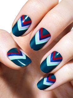 Straight and Arrow - Bold Blue Chevron Nail Art Design - Essie Nail Polish Looks