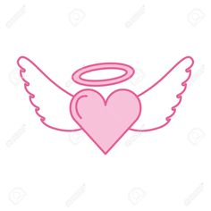 romantic heart love wings valentine tattoo vector illustration , #Affiliate, #love, #wings, #romantic, #heart, #vector