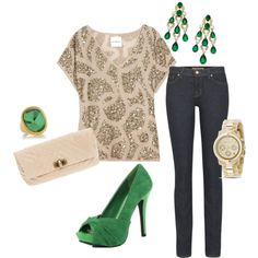 Gold & Emerald Green - fun holiday outfit!