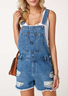 9258376e25 Distressed Button Detail Pocket Short Overalls