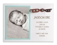 Brown and Blue Dot Ribbon Photo Birth Announcement by Luscious Verde