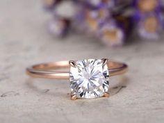 1.7 Carat 7mm Cushion Moissanite Engagement Ring Solid 14K Rose Gold Bridal SetAntique wedding ring,promise ring for her,anniversary ring